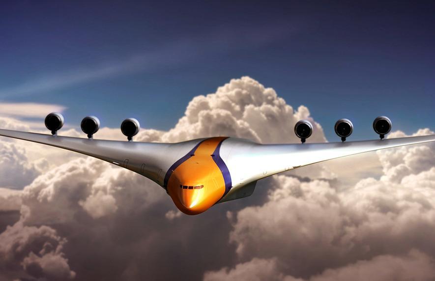Futuristisches Flugzeug mit viel Platz, Hybridantrieb und ohne Fenster