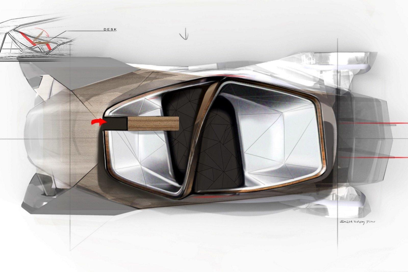 Das Elektroauto Shiwa mit Radnabenantrieb verfügt über vier kleine Elektromotoren in den Rädern. Da das Auto autonom fährt, hat es keine Fenster. Die Innenflächen dienen als Projektionsfläche, die Fahrgäste sitzen sich gegenüber.