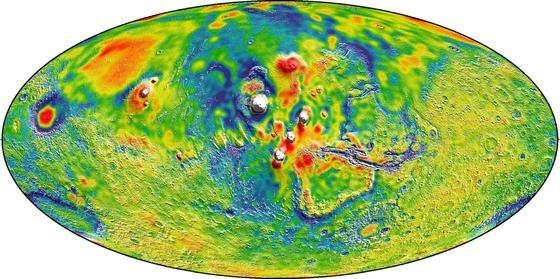 Gravitationskarte des Mars: Sie beruht auf Datenmaterial von 16 Jahren.