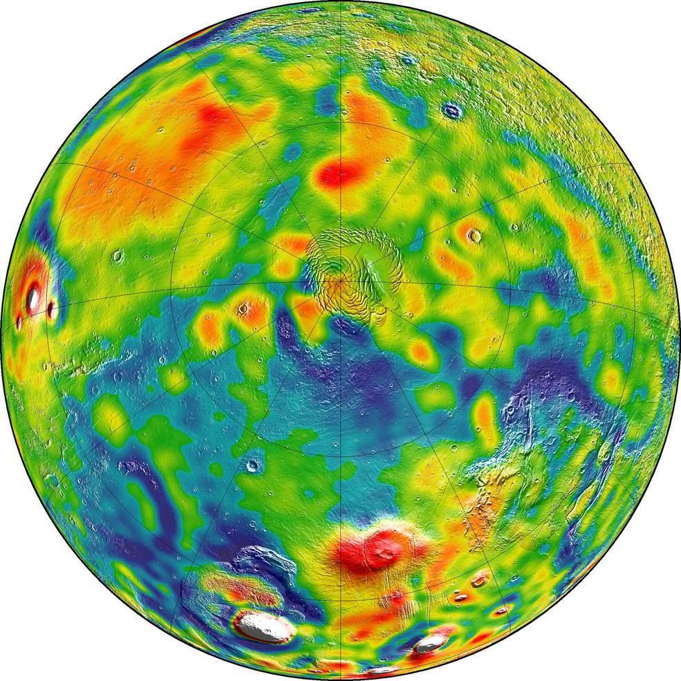 Hier zeigt die Gravitationskarte den Nordpol. Gebiete mit höherer Gravitation sind weiß und rot markiert. Blau kennzeichnet Gebiete mit geringerer Gravitation.