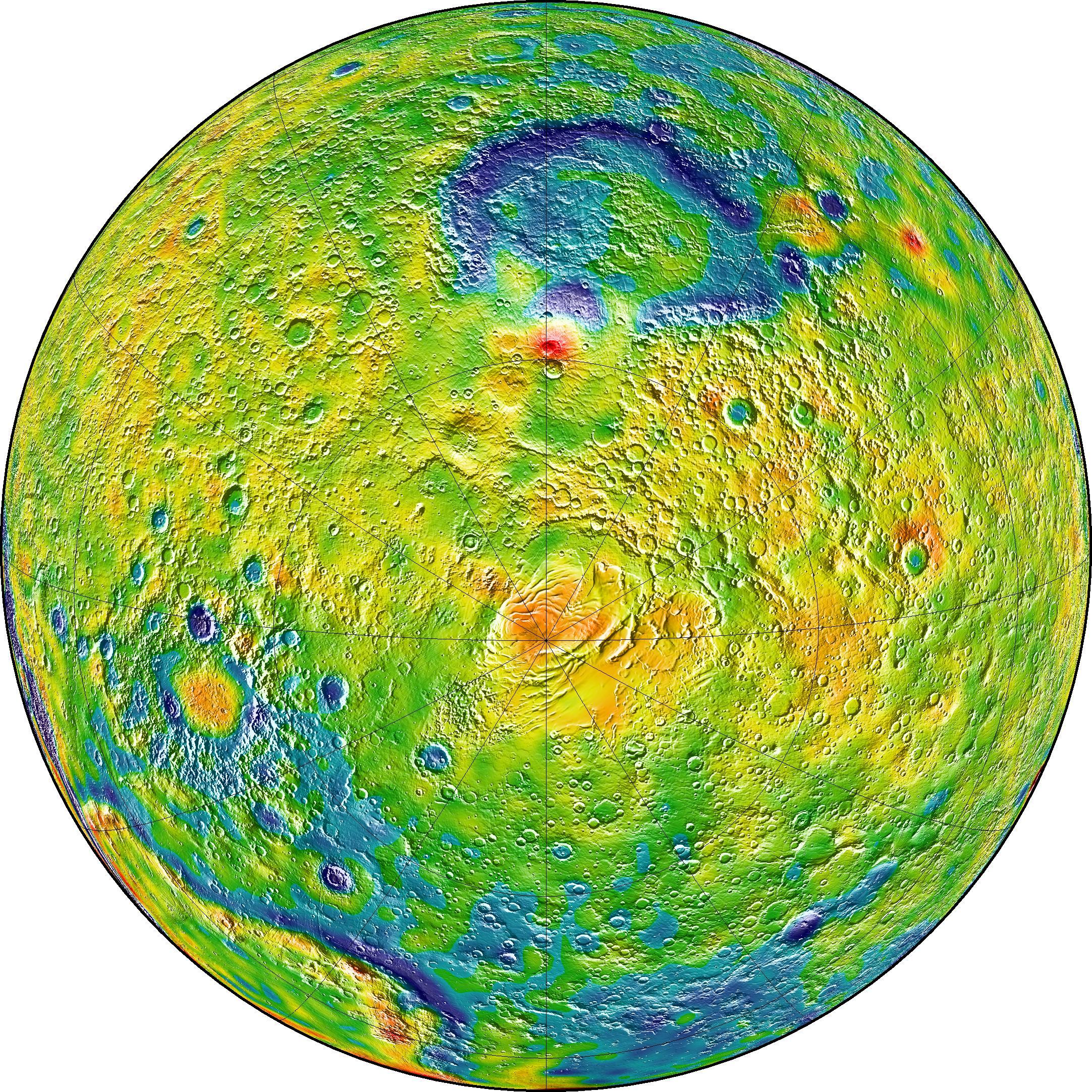Der Mars mit dem Südpol in der Mitte. In den weißen und roten Gebieten herrscht mehr, in den blauen weniger Gravitation.