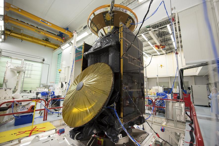 ExoMars 2016: Die 4,3 t schwere Raumsonde besteht aus dem Trace Gas Orbiter (TGO) und dem Landemodul Schiaparelli.