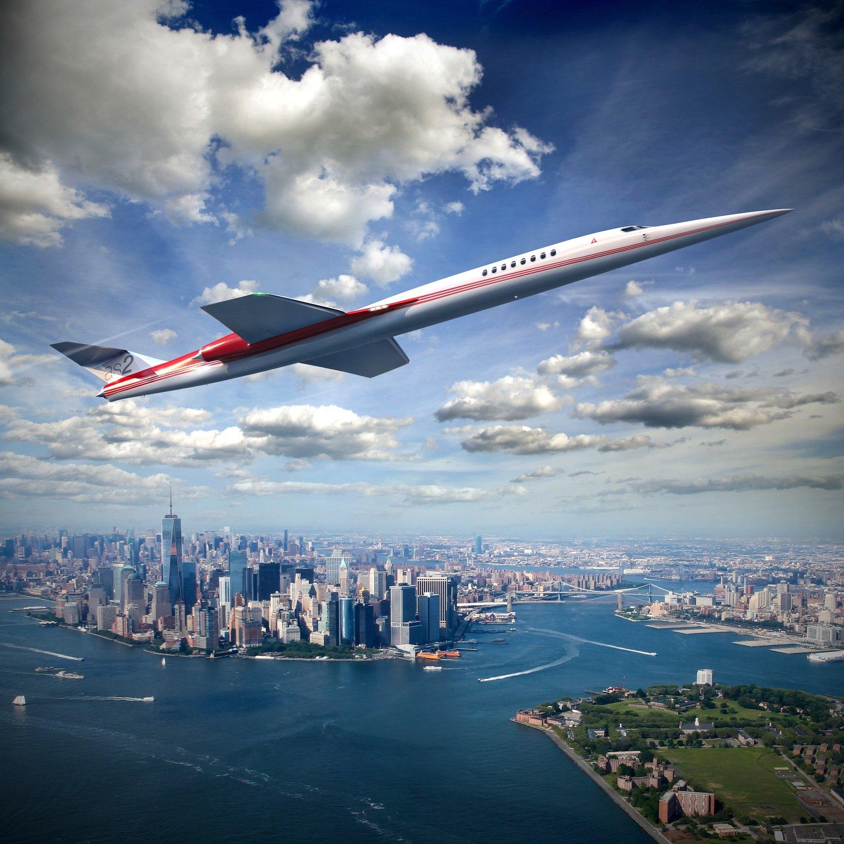 Überschallflugzeug von Aerion und Airbus vor der Skyline von New York: 2021 soll das Flugzeug schon seine Serienzulassung bekommen.