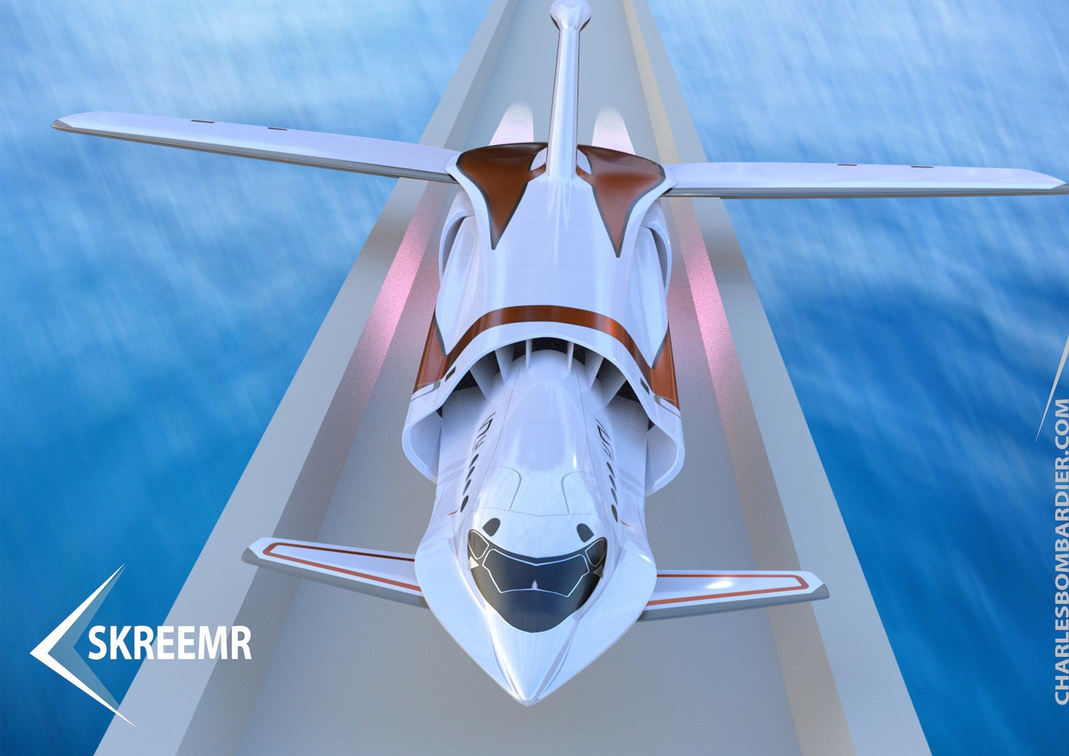 Die beiden Flugzeugdesigner Charles Bombardier und Ray Mattison haben das Konzept für ein Passagierflugzeug mit dem Arbeitstitel Skreemrvorgelegt, das mehr als 10.000 km/h schnell fliegen kann.