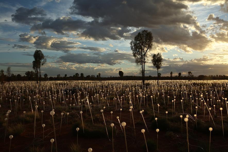 Bruce Munro installiert magisches Licht am Uluru