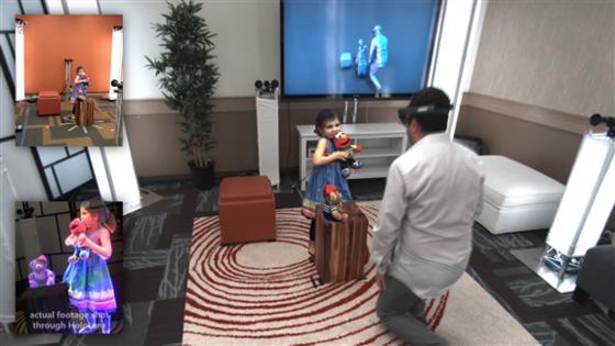 Hier kann man seinen Augen nicht trauen:Microsoft-Forscher Shahram Izadi und seine Tochter Lilly halten sich nicht im selben Raum auf. Es sieht nur so aus, als ob. Holoportation nennt sich diese virtuelle 3D-Teleportation in Echtzeit.