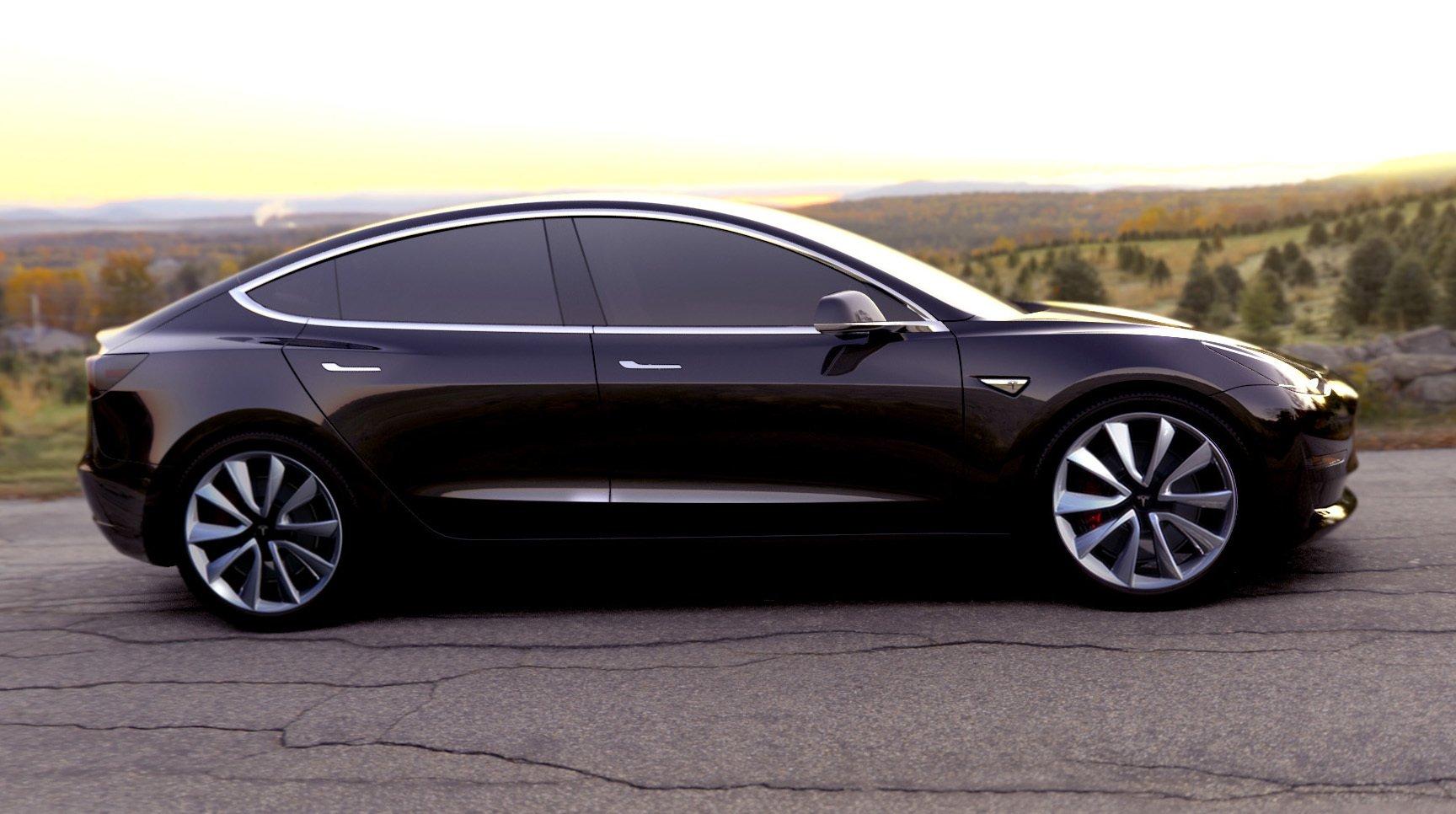 Die Basisversion des Model 3 bringt es auf eine Reichweite von 345 km und beschleunigt in sechs Sekunden von 0 auf 100 km/h.