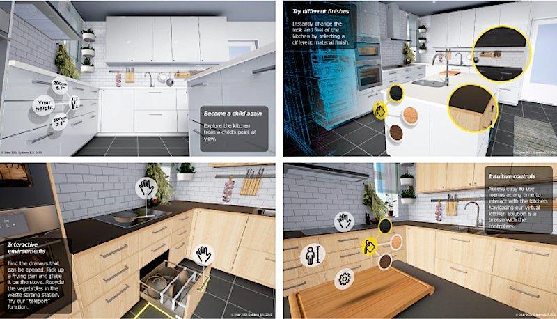 Beim virtuellen Rundgang können in den Küchen Türen und Schubladen geöffnet, verschiedene Oberflächenmaterialien ausprobiert und deren Farben verändert werden. Angewendet wird die App mit dem Headset Vive von HTC.