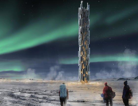 Mit diesem Entwurf für ein Hochhaus auf Island, in dem Server durch Wind gekühlt werden, belegten die italienischen ArchitektenValeria Mercuri und Marco Merletti Rang 3 im Hochhaus-Wettbewerb des US-Magazins eVolo.