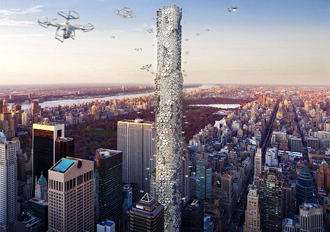 """Das Hochhaus """"Hive"""" ist ein vertikales Kontrollterminal, das die Infrastruktur liefert, um die Verwendung von Drohnen in den Alltag der New Yorker Bürger einzubinden. Im Zentrum steht ein Kontrollturm, der als Knotenpunkt für den Drohnen-Verkehr dient."""