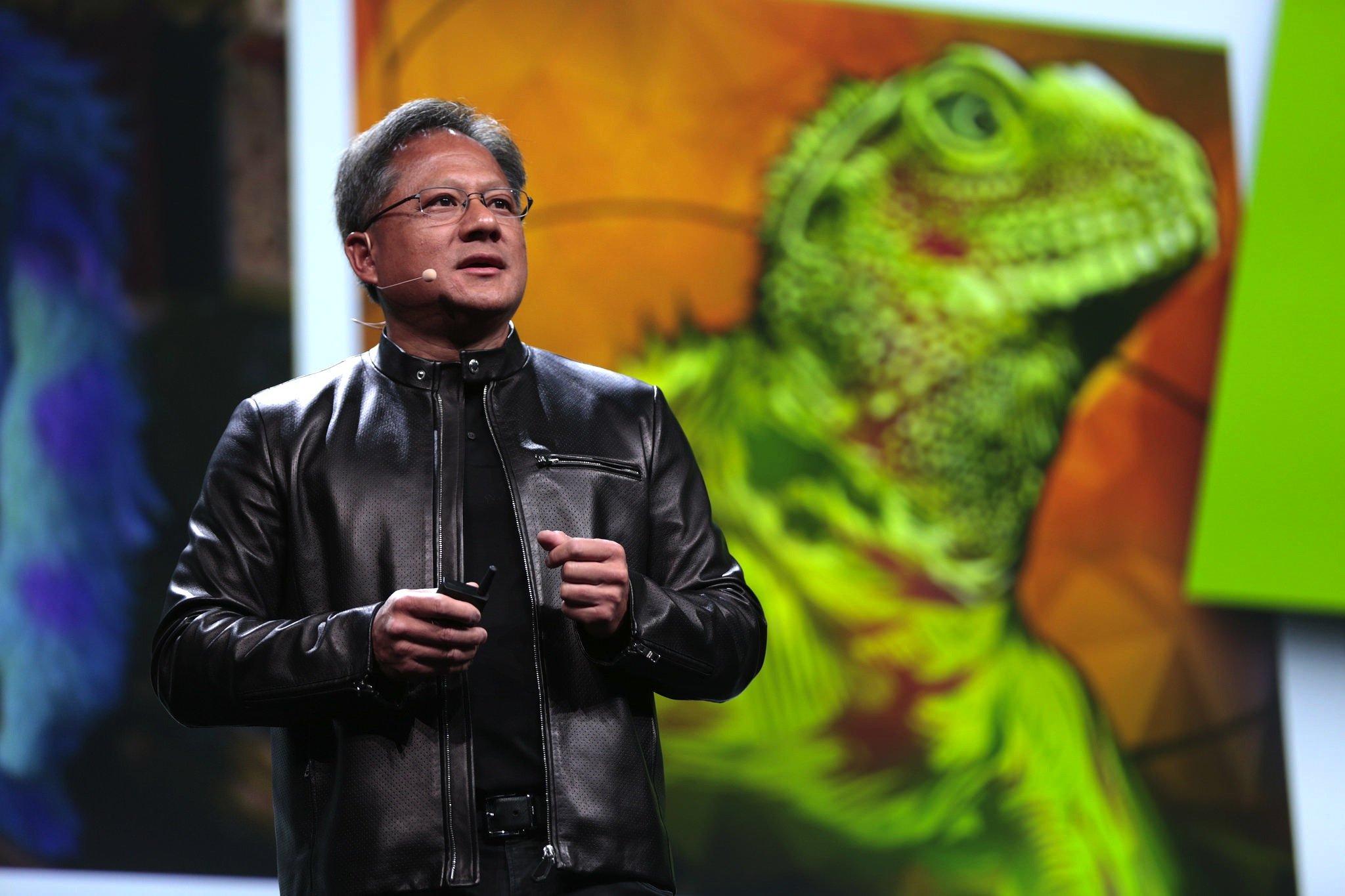Nvidia-Chef Jen-Hsun Huang präsentierte die neuenextrem starker Grafikprozessoren, die Nvidia künftig auch in autonom fahrenden Autos einsetzen will.