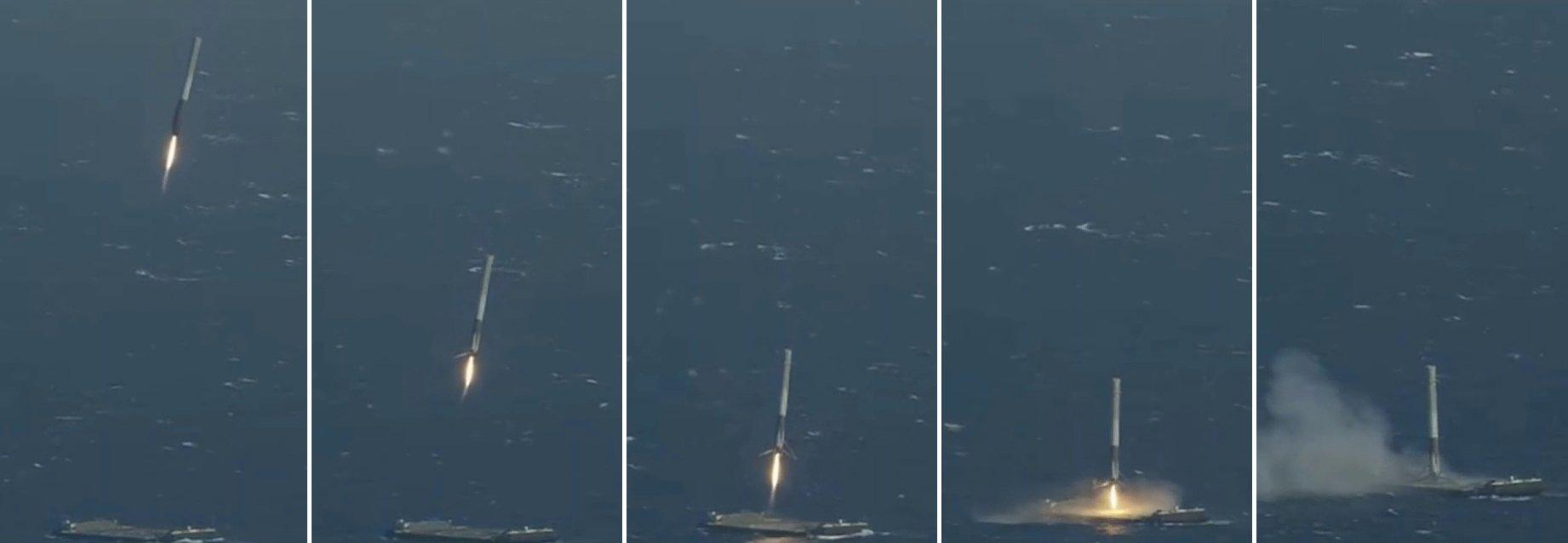 Screenshots aus einem Video der US-Raumfahrtfirma SpaceX zeigen die Landung der untersten Raketenstufe einer Falcon9-Rakete auf der unbemannten schwimmenden Plattform