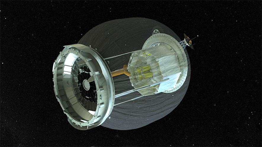 Das Modul Beam kann von 1,74 auf 3,96 m Länge ausgefahren werden. Dadurch wird viel Platz beim Transport im All gespart. Deshalb ist die 30 cm starke Außenhaut flexibel, soll aber trotzdem die enormen Belastungen im Weltall aushalten.