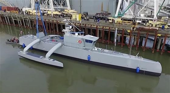 Taufe der Actuv in Portland: Das Roboterschiff mit dem Kosenamen Sea Hunter jagt autonom feindliche U-Boote.