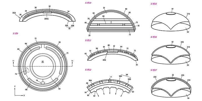 Smarte Kontaktlinse: Skizzen zum Patentantrag von Samsung.