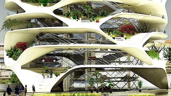 """Ein Hochhaus mit völlig unterschiedlichen, geschwungenen Raumhöhen hat der belgische ArchitektDavid Tajchman für Tel Aviv entworfen. Gebaut werden soll das """"Gran Mediterraneo""""aus weißem Beton."""