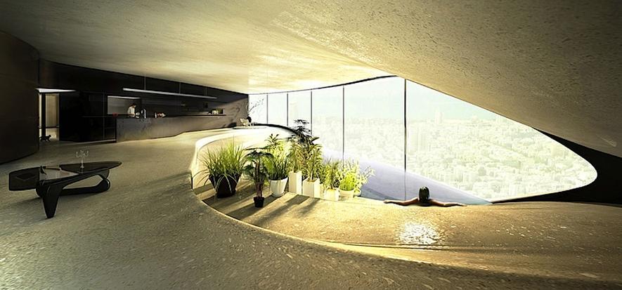 Wie Wellen aus weißem Beton zu einem Hochhaus werden