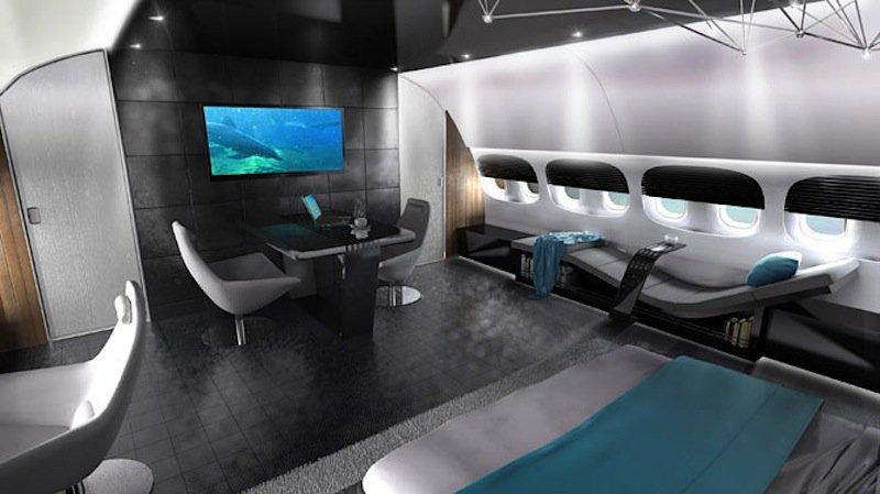 In verschiedenen Farben kann das Interieur einer privaten Boeing 787 erscheinen, das Salt & Water ebenfalls entworfen hat.