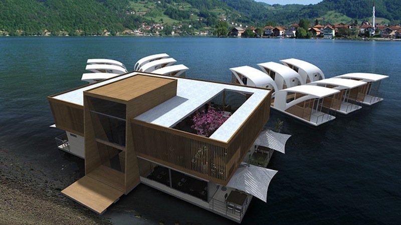 Jeder Katamaran ein Luxusapartment: als schwimmende Hotelanlage soll dieses Konzept dienen.