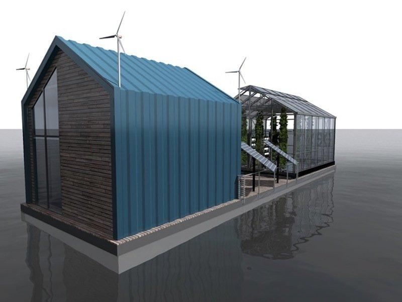 Kleine Windräder am Dach des Aufbaus und Solarpanels sollen ausreichend Strom für den Betrieb der Eco Barge liefern.