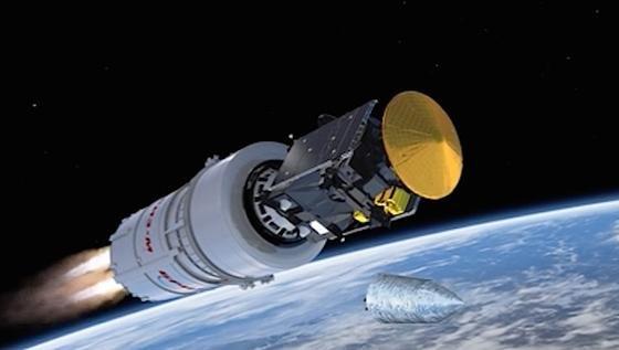 ExoMars: Die Aufnahme zeigt die europäisch-russische Raumsonde knapp sechs Minuten nach dem Start. Inzwischen ist sie seit einem Monat unterwegs zum Roten Planeten. Jetzt hat sie ihr erstes Foto geschickt.