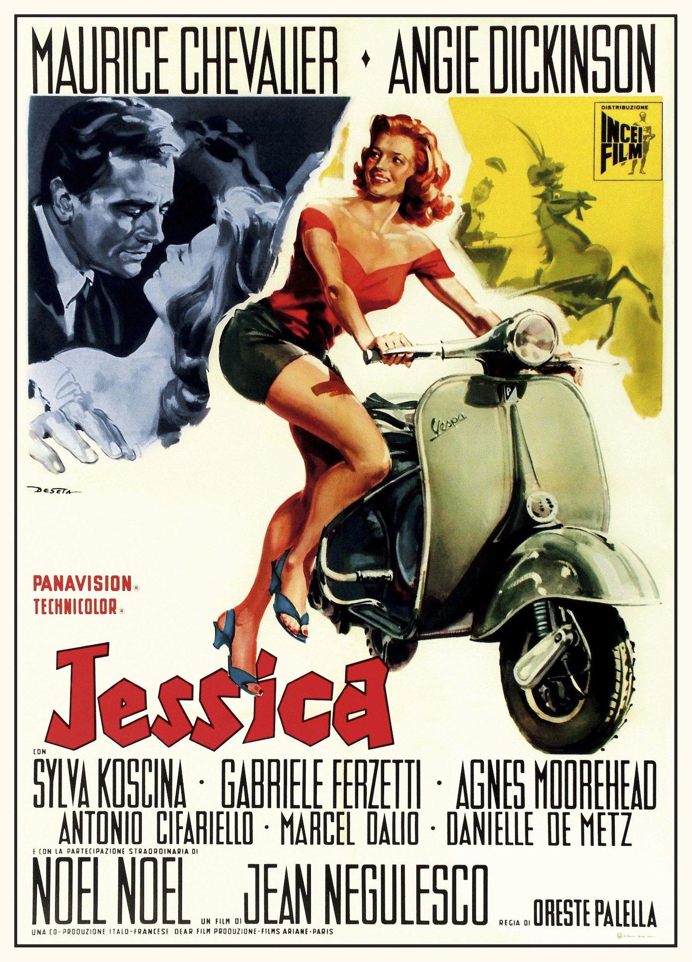 Plakat für den Film Jessica mit Maurice Chevalier und Angie Dickinson im Jahr 1961.