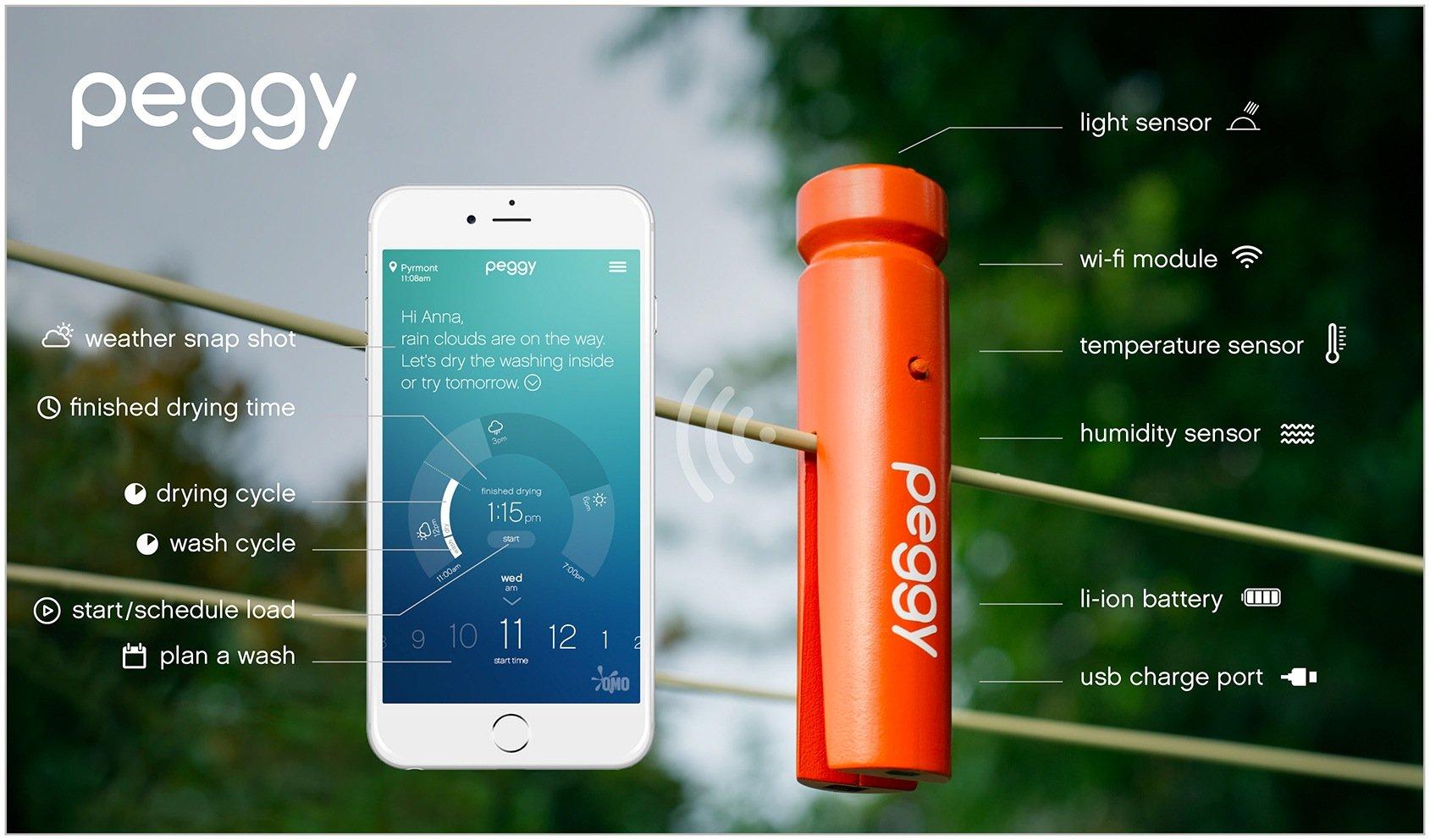 Mit der smarten Wäscheklammer Peggy und der zugehörigen App will Omo in Australien das Wäschetrocknen an der frischen Luft erleichtern.