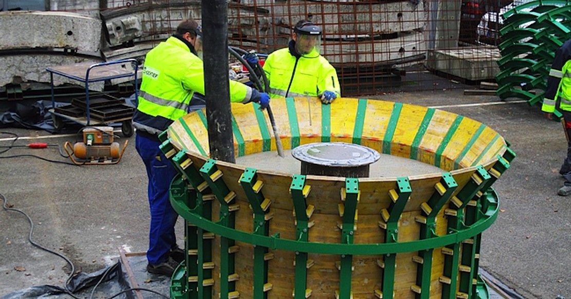 Die Betonkugel, die demnächst im Bodensee vor Überlingen versenkt wird, wurde bei Hochtief in Frankfurt hergestellt.