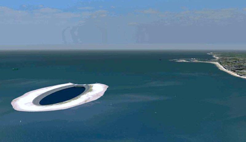 iLand: Eine künstliche Insel in Form einer Ellipse soll als Pumpspeicherkraftwerk fungieren.