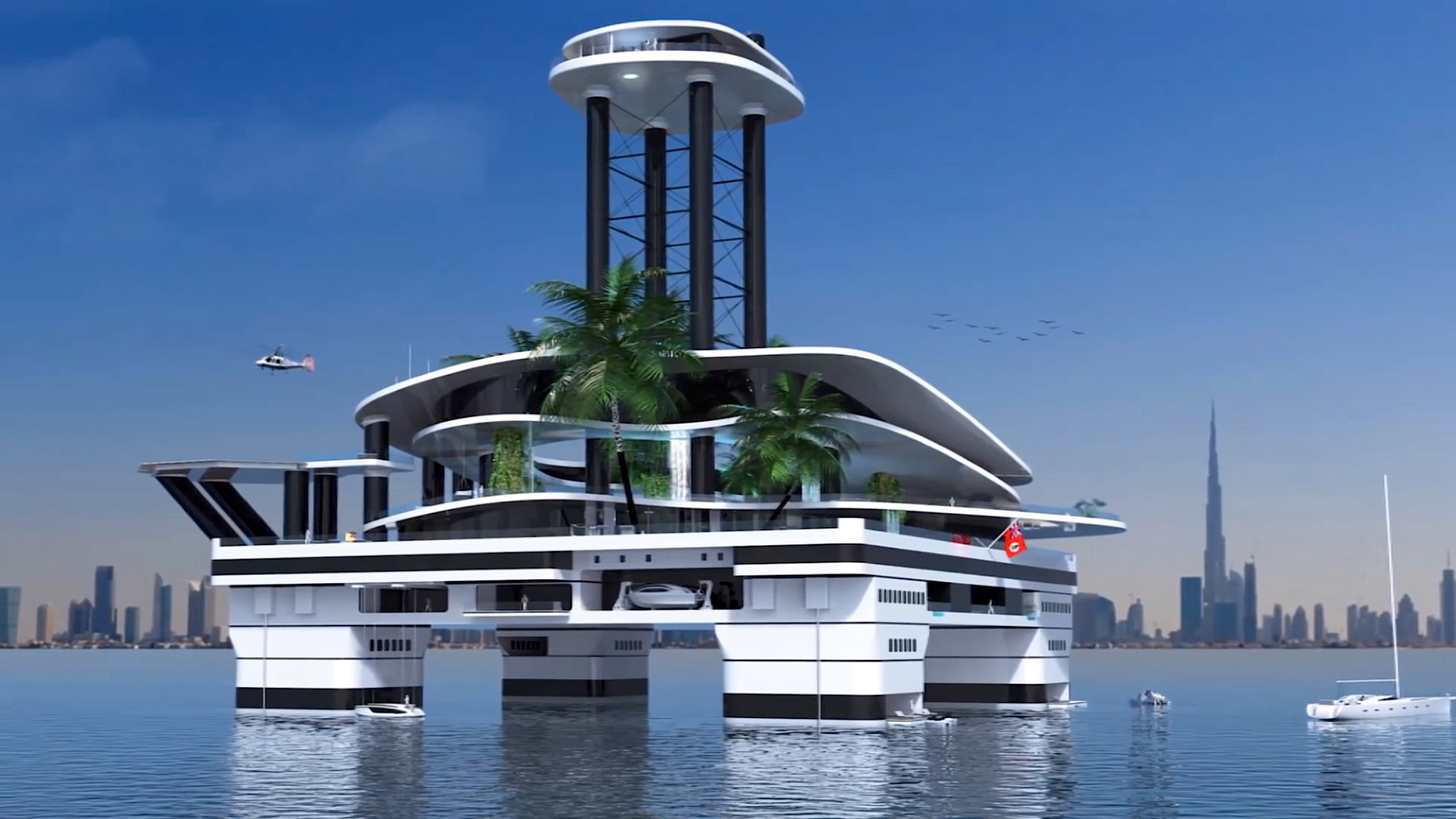 eine yacht in ufo form zum leben auf dem meer. Black Bedroom Furniture Sets. Home Design Ideas