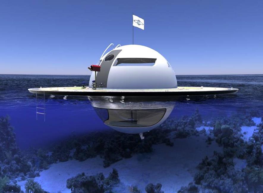 Eine Yacht in UFO-Form zum Leben auf dem Meer