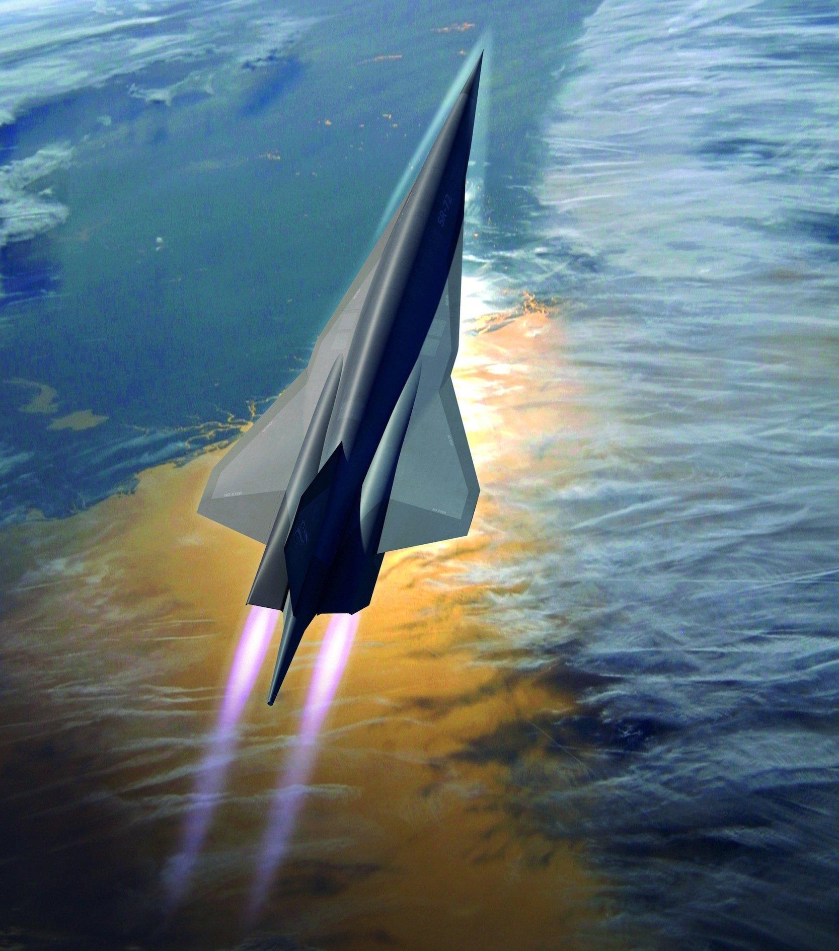 Der SR-72 soll zunächst mit herkömmlichen Jet-Triebwerken starten und später mitso genannte Ramjets auf sechsfache Schallgeschwindigkeit beschleunigen.