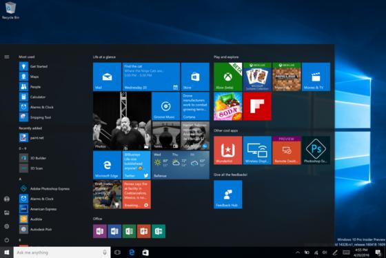 Startbildschirm des neuen Windows 10: Vor allem gibt es wieder ein richtiges Startmenü.