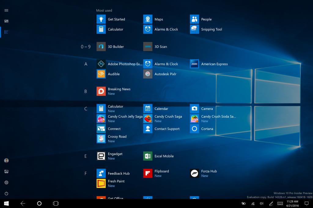 So sieht der Startbildschirm der neuen Windows-10-Version auf dem Tablet aus.
