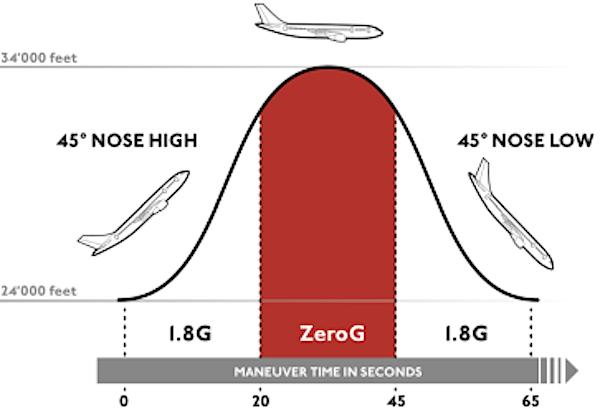 """Swiss Space Systems verspricht seinen Kunden für 2000 Euro 15 parabel-förmige Flugmanöver, bei denen durch den steilen """"Sturzflug"""" entlang der Parabel nach unten jeweils für 20 bis 25 Sekunden eine totale Schwerelosigkeit erzeugt wird."""
