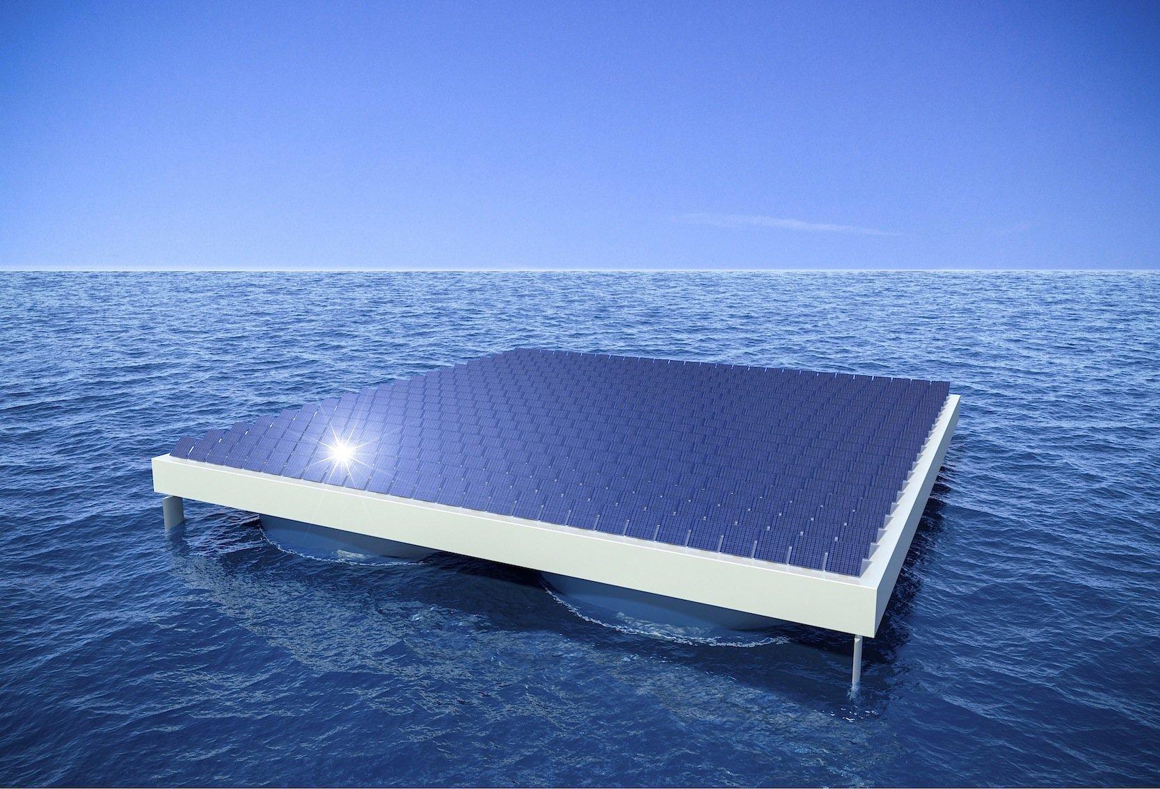 Die Solarpanele können auch etwas über dem Meer angeordnet und in die Sonne gestellt werden.