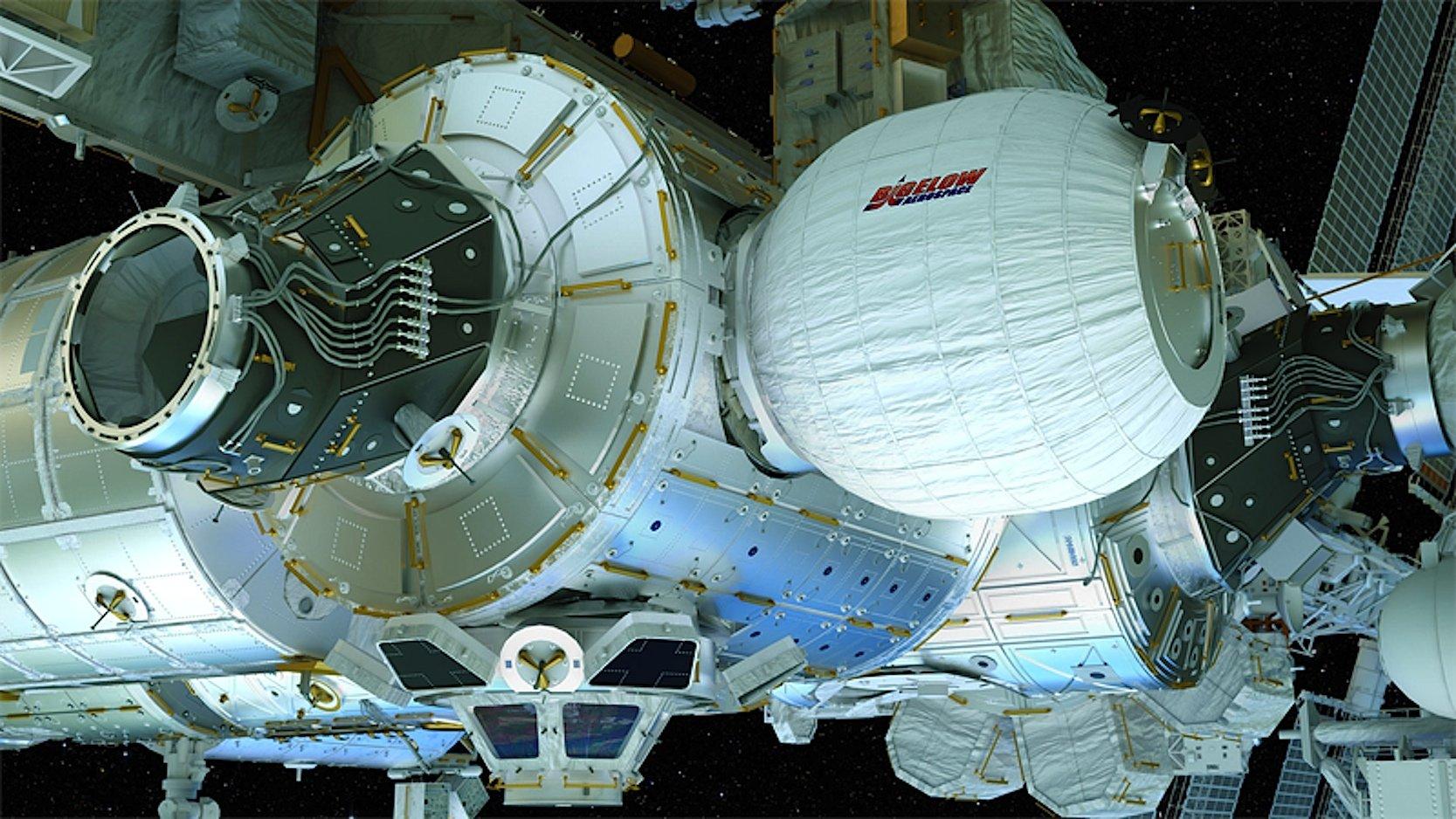 So wird es aussehen, wenn das ausklappbare Modul Beam an der ISS angedockt und ausgefahren ist.