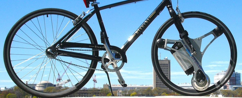 Das Konzept des Geo Orbital Wheels: Der Motor sitzt in der Mitte des Vorderrades, die Felge wird über Walzen angetrieben. Auch der Akku ist im Rad untergebracht.