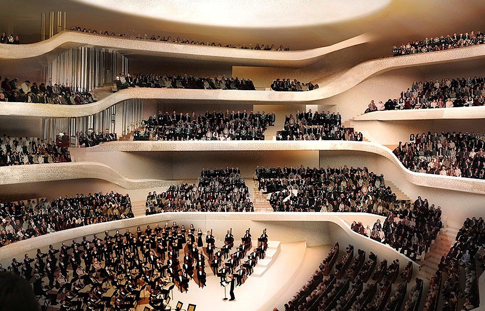 Ausschnitt des Großen Saales in der Elbphilharmonie: Deutlich zu erkennen ist links im Hintergrund ein Teil der Orgel, die aus4765 Pfeifen besteht. Diese sind auf vier Terrassen im Raum verteilt und stehen zum Teil direkt neben den Zuschauerplätzen.
