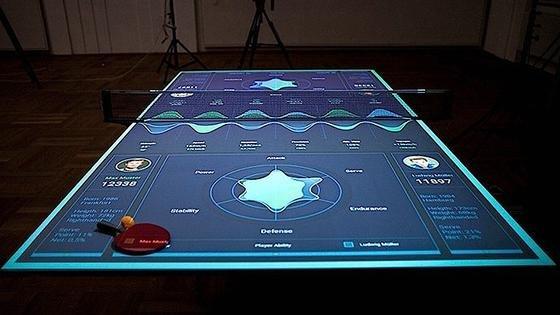 Spielerdaten auf einer Tischtennisplatte: Der Student Thomas Mayer hat ein Spielgerät entwickelt, das Spieler und Ball genau erfasst und optimal ist, um sein Spiel zu verbessern.