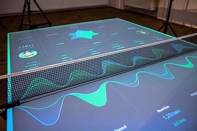 Die Oberfläche wird zum Interface: Auch einen Überblick über die eigene Statistik liefert der interaktive Tischtennistrainer von Thomas Mayer.