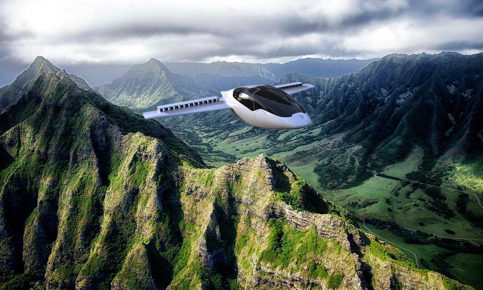 Lilium-Jet über einer Bergkette:Angetrieben wird das Fluggerät von zwölf Elektroturbinen auf jedem Flügel.