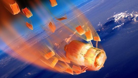 Verglühender Raumtransporter in der Erdatmosphäre: Nach neuesten Studienergebnissen herrschte in der Atmosphäre der Erde vor etwa 2,7 Milliarden Jahre nur maximal die Hälfte desheutigen Luftdrucks.
