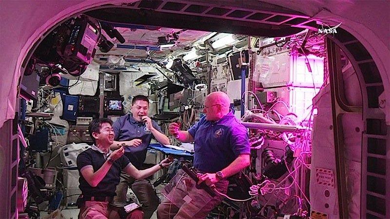 Kostprobe gefällt: Die ISS-Astronauten lassen sich den Weltraum-Salat auf der Zunge zergehen.