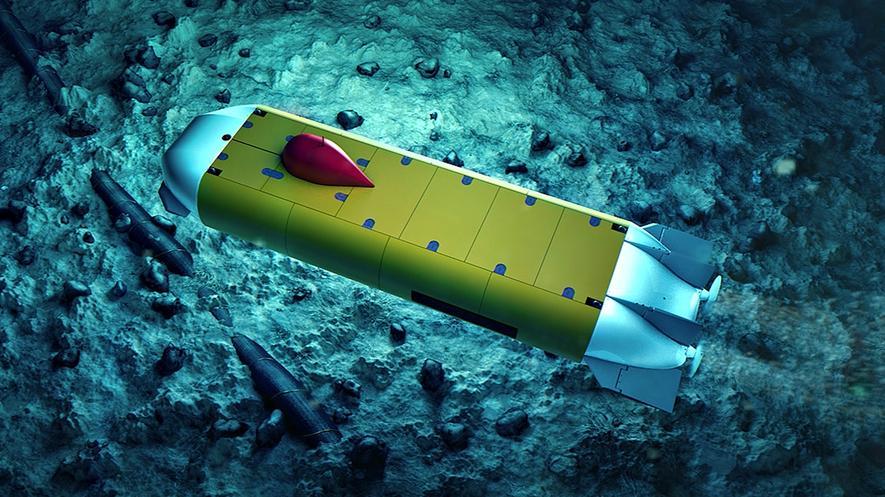 Dedave: Das von Fraunhofer-Forschern entwickelte autonome Unterwasserfahrzeug wiegt nur 700 Kilo und kann bis in eine Tiefe von 6000 m abtauchen.