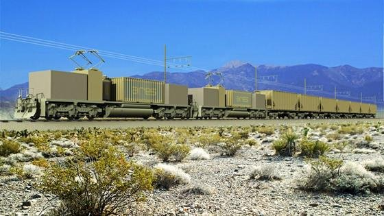 Künstlerische Darstellung des geplanten Projektes in der Nähe von Pahrump, einer Kleinstadt in Nevada: Auf rund 43 Hektar Land an einem 600 m hohen Hügelsoll eine rund 55 Mio. US-Dollar teure Anlage entstehen, die ab 2019 fertig sein soll. Diese nutzt sozusagen die Ressource der Schwerkraft, um die Energie zu speichern und freizugeben.