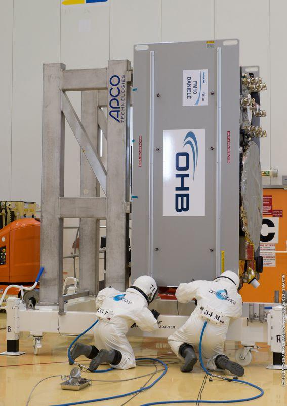Vorbereitung zur Betankung des Galileosatelliten Danielè.