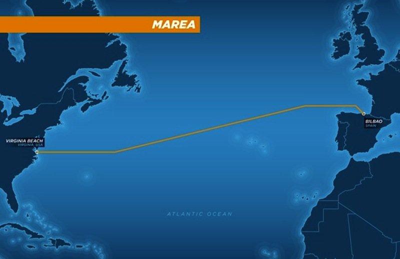 Verlauf des 6600 km langen Unterseekabels Marea. Es verbindet Virginia in den USA und Bilbao in Spanien.