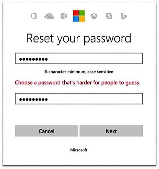 """""""Reset your password"""" lautet die unmissverständliche Aufforderung von Microsoft für Kunden, die ein unsicheres Passwort verwenden. Sie haben mit diesen unsicheren Passwörtern ab sofort keinen Zugriff mehr auf die Online-Dienste des US-Konzerns."""