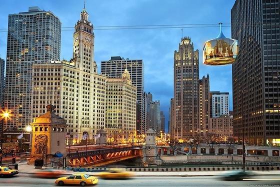 Mit einer Seilbahn sollen künftig Touristen durch Chicago fahren, um die Sehenswürdigkeiten der Stadt zu erleben.